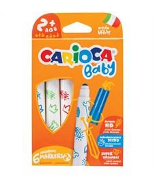 """Фломастеры Carioca """"Baby"""", 06цв., утолщенные, смываемые, картон, европодвес"""