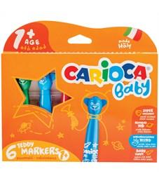 """Фломастеры Carioca """"Baby. Teddy Marker"""", 06цв., утолщенные, смываемые, картон, европодвес"""