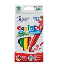 """Фломастеры Carioca """"Jumbo"""", 6цв., утолщенные, смываемые, картон, европодвес"""
