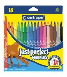"""Фломастеры Centropen """"Just Perfect"""", 18цв., трехгранные, смываемые, устойч. к высыханию, картон, евр"""