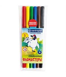 """Фломастеры Centropen """"Пингвины"""", 06цв., смываемые, ПВХ"""