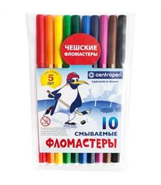 """Фломастеры Centropen """"Пингвины"""", 10цв., смываемые, ПВХ"""