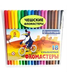 """Фломастеры Centropen """"Пингвины"""", 18цв., смываемые, ПВХ"""