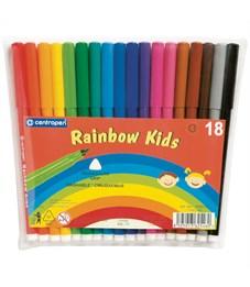 """Фломастеры Centropen """"Rainbow Kids"""", 18цв., трехгранные, смываемые, ПВХ"""