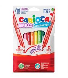 """Фломастеры двусторонние Carioca """"Birello"""", 10цв., 10 шт., смываемые, картон, европодвес"""