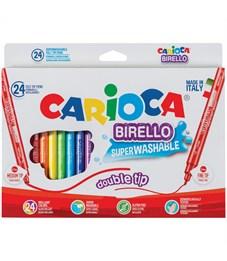 """Фломастеры двусторонние Carioca """"Birello"""", 24цв.,  24шт., смываемые, картон, европодвес"""