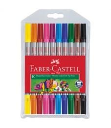 Фломастеры двусторонние Faber-Castell, 10цв., 10шт., смываемые, ПВХ уп., европодвес