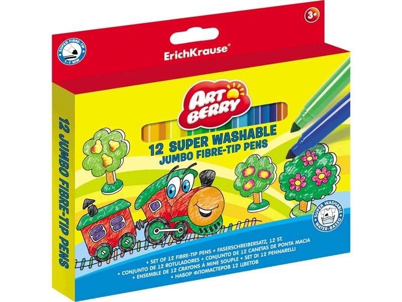 Фломастеры Erich Krause ArtBerry Jumbo Super Washable 12 цветов