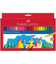 Фломастеры Faber-Castell, 50цв., смываемые, картон, европодвес