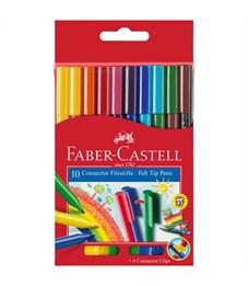 """Фломастеры Faber-Castell """"Connector"""", 10цв., смываемые, соединяемые колпачки, картон, европодвес"""