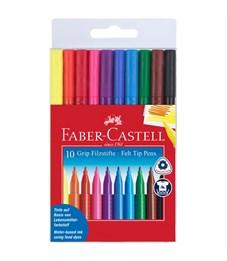 """Фломастеры Faber-Castell """"Grip"""", 10цв., трехгранные, смываемые, ПВХ, европодвес"""