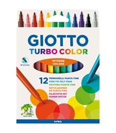 "Фломастеры Giotto ""Turbo Color"", 12цв., смываемые, картон, европодвес"
