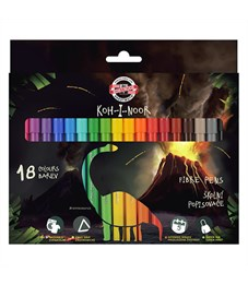 Фломастеры KOH-I-NOOR ДИНО 18 цветов, треугольные, смываемые