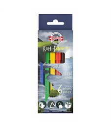 Фломастеры KOH-I-NOOR ДИНО 6 цветов, треугольные, смываемые