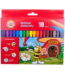 """Фломастеры Koh-I-Noor """"Пчелка"""", 18цв., трехгранные, смываемые, картон, европодвес"""