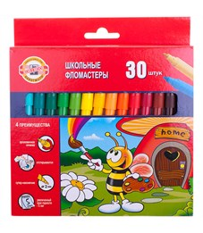 """Фломастеры Koh-I-Noor """"Пчелка"""", 30цв., трехгранные, смываемые, картон, европодвес"""
