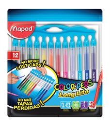 """Фломастеры Maped """"Color Pep's Long Life"""", 12цв., смываемые, нетеряющиеся колпачки, ПВХ, европодвес"""
