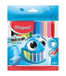 """Фломастеры Maped """"Color Pep's Ocean"""", 12цв., смываемые, ПВХ, европодвес"""