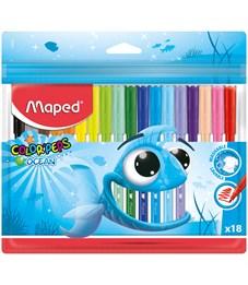 """Фломастеры Maped """"Color Pep's Ocean"""", 18цв., смываемые, ПВХ, европодвес"""
