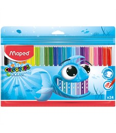 """Фломастеры Maped """"Color Pep's Ocean"""", 24цв., смываемые, ПВХ, европодвес"""