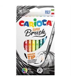 """Фломастеры с кистевым пишущим узлом Carioca """"Super Brush"""", 10цв., смываемые, картон, европодвес"""