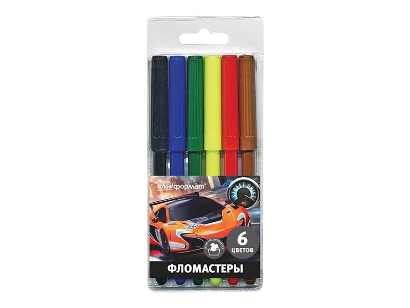 Фломастеры SchoolФОРМАТ Мир скорости, 6 цветов