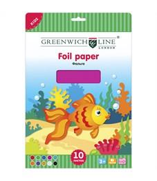 Фольга цветная, A4, Greenwich Line, 10л., 10цв., в папке с европодвесом
