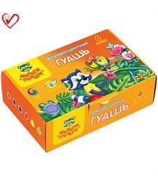 "Гуашь Мульти-Пульти ""Приключения Енота"", 06 цветов, 20мл, флуоресцентная, картон"