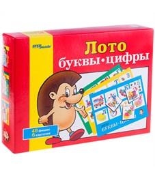 """Игра настольная Лото, Step Puzzle """"Буквы-цифры"""", картонная коробка"""
