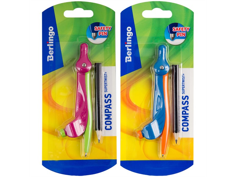 """Циркуль Berlingo """"Supertwist"""" пластиковый, 120мм, безопасная игла, с держателем, с карандашом, пакет"""