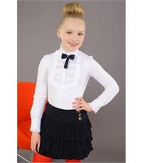 Юбка школьная Маленькая леди с воланами черная