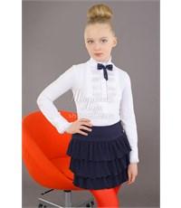 Юбка школьная Маленькая леди с воланами синяя