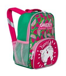Рюкзак детский Grizzly, 23*30*11см, 1 отделение, 3 кармана, укрепленная спинка, ярко-розовый-зеленый