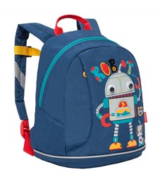 Рюкзак детский Grizzly, 25*30*14см, 1 отделение, 1 карман, укрепленная спинка, джинса