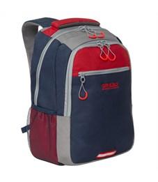 Рюкзак Grizzly, 31*42*22см, 2 отделения, 3 кармана, анатомическая спинка, синий-красный