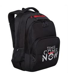 Рюкзак Grizzly, 32*45*23см, 2 отделения, 3 кармана, анатомическая спинка, черный-красный