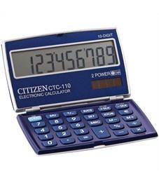 Калькулятор карманный Citizen CTC-110WB 10 разрядов, двойное питание, 63*106*14мм, синий