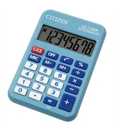 Калькулятор карманный Citizen LC-110NRBL, 8 разр., питание от батарейки, 88*58*11мм, голубой