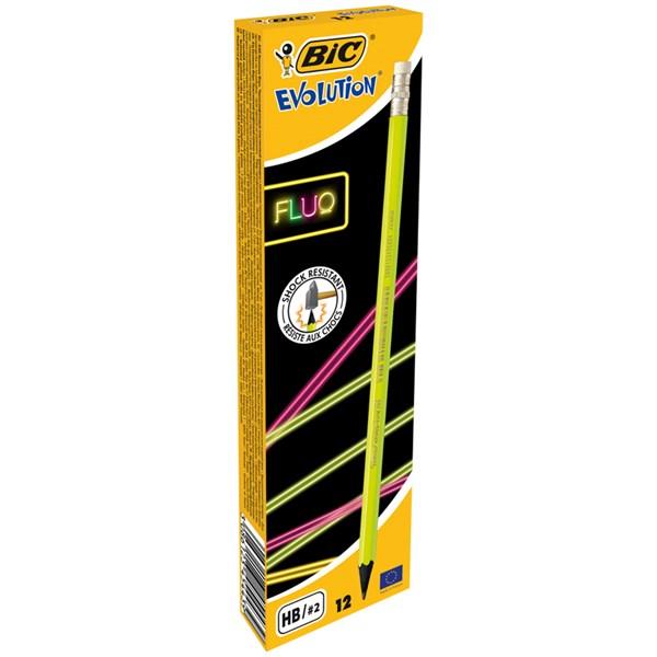 """Карандаш ч/г Bic """"Evolution Fluo"""" HB, с ластиком, заточен., пластиковый"""