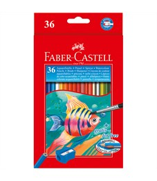 Карандаши акварельные Faber-Castell, 36цв+кисть, картон, европодвес