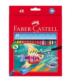 Карандаши акварельные Faber-Castell, 48цв+кисть, картон, европодвес