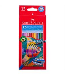 """Карандаши акварельные Faber-Castell """"Рыбки"""", 12цв+кисть, картон, европодвес"""