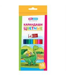 """Карандаши цветные ArtSpace """"Динозаврики"""", 12цв., заточен., картон, европодвес"""