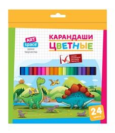 """Карандаши цветные ArtSpace """"Динозаврики"""", 24цв., заточен., картон, европодвес"""