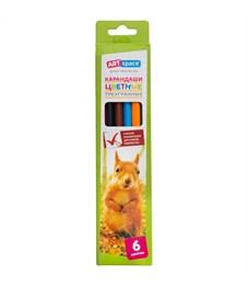"""Карандаши цветные ArtSpace """"Животный мир"""" 06цв., трехгран., заточен., картон. уп., европодвес"""