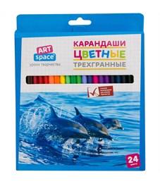 """Карандаши цветные ArtSpace """"Животный мир"""" 24цв., трехгран., заточен., картон. уп., европодвес"""
