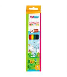"""Карандаши цветные ArtSpace """"Зверята"""", 06цв., заточен., картон, европодвес"""