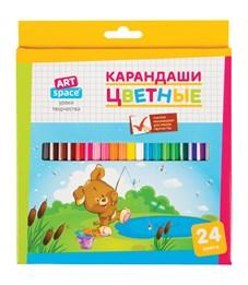"""Карандаши цветные ArtSpace """"Зверята"""", 24цв., заточен., картон, европодвес"""