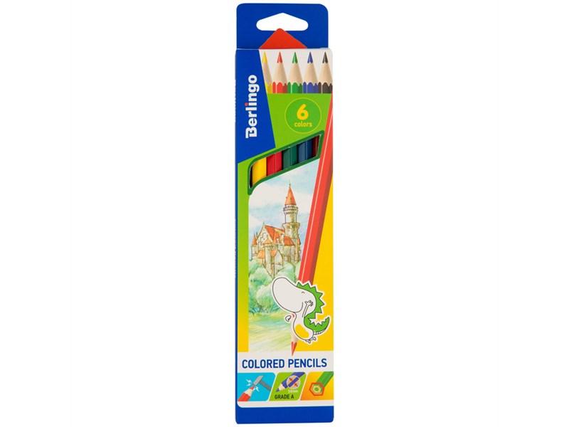 """Карандаши цветные Berlingo """"Замки"""", 06цв., заточен., картон, европодвес"""