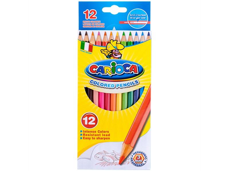 Карандаши цветные Carioca 12цв., заточен., картон, европодвес